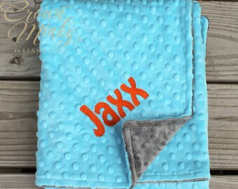 Personalized Baby Blanket, Charcoal Grey and Turquoise Personalized Baby Minky Blanket