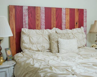 Spring Mix Design – Full Hanger Headboard with Vertical Boards. Mounts on wall. Adjust height to your convenience. Easy installation.
