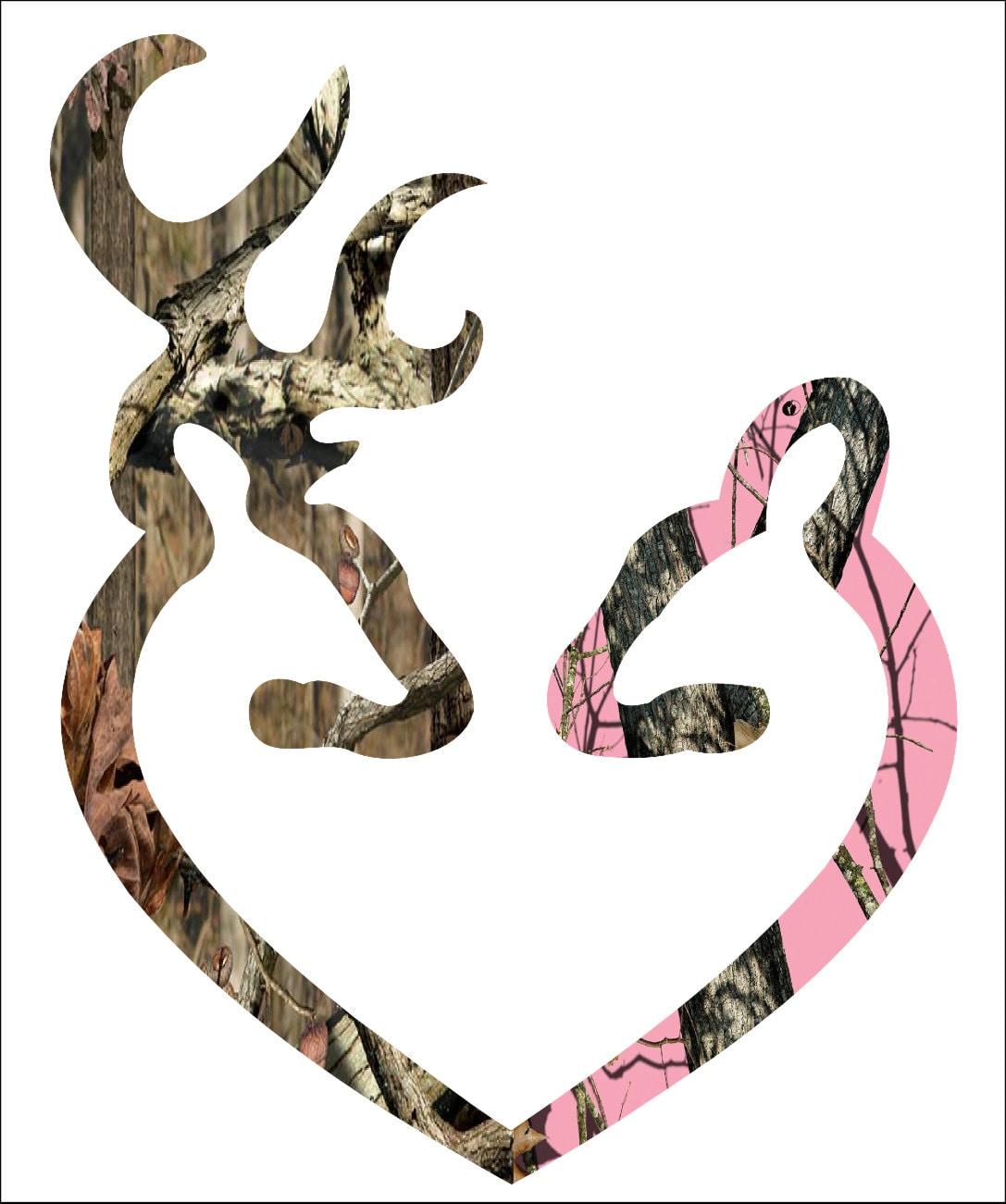 browning style camo and pink camo love heart shaped deer buck