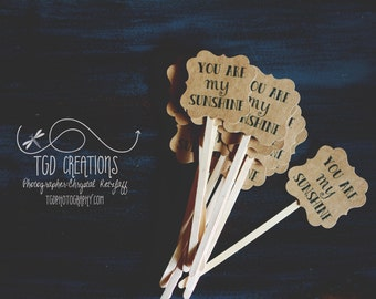 12 pc Custom Kraft Paper You are My Sunshine Cupcake Toppers Drink Stirrers