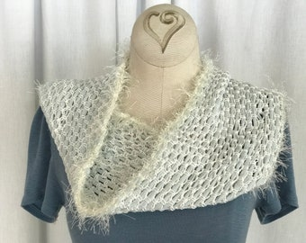 Pale Blue and Fuzzy White Infinity Scarf