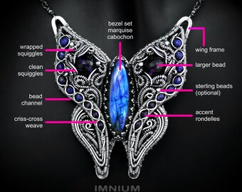 Butterfly pendant TUTORIAL - step by step instructions on every detail of this hybrid pendant. Multiple useful adaptable techniques DIY