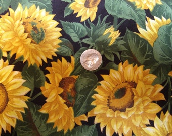 Large yellow  SUNFLOWERS on green cotton, FABRIC No 2