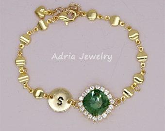 Dainty Initial Bracelet, Green Personalized Bracelet, Emerald Bridesmaid Bracelet, May Birthstone Bracelet, Personalized Disk Bracelet