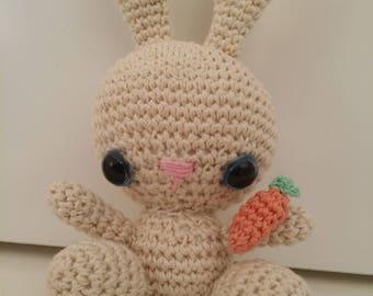 Handmade Bunny plushie with blue eyes