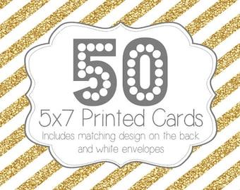 50 PRINTED INVITATIONS and white envelopes
