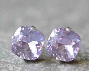 Lavender Earrings Lilac Bridesmaids Earrings Purple Wedding Swarovski Crystal French Purple Rounded Square Stud Earrings Lavender Clip ons