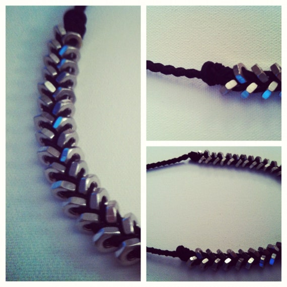 Nuts About You Silver & Black Leather Necklace