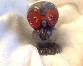 Marble eyed owl figurine