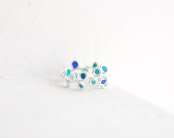Womens Silver Ring, Orb Ring, Peacock Blue Jewelry, Thin Delicate Ring