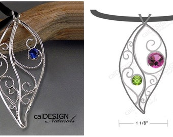 "Artisan Made Personalized Filigree ""Leaf"" Pendant - Mother's Pendant - Loved Ones Pendant - Sterling - Custom - Birthstone - Mother's Day"