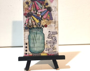 Flower Mason Jar Print , Print and Easel Set, Mason Jar Decor
