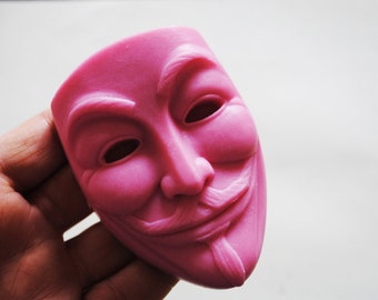 1 x Crafted Guy Fawkes Mask Soap - Mather day, Father's Day Gift, Kid, Children Soap