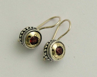 Sterling silver earrings, yellow gold earrings,  two tone earrings, everyday earrings, red garnet earrings - Love Drums E0287x