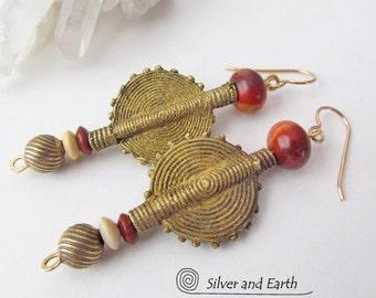 African Earrings, Ethnic Earrings, Tribal Earrings, Baule Brass Bead Earrings, Bold Earthy Exotic Bohemian Boho Chic African Tribal Jewelry