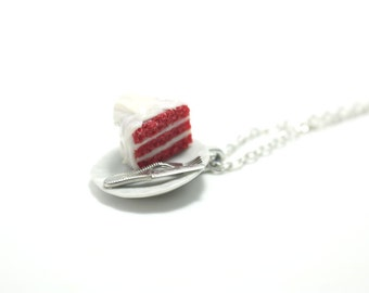 Red Velvet Necklace, Miniature Food Jewelry, Polymer Clay Food Jewelry