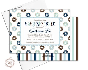 baby sprinkle invitation boy, donut invite, donut baby shower invitation, blue mint brown, printable or printed - WLP00726