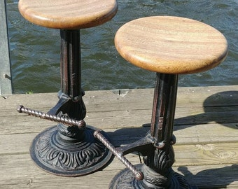 Cast Iron Bar Stools, ornate Ice Cream Parlor bottom, Wood Top