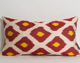 Silk Lumbar Ikat Pillow Cover Red Yellow Ivory Diamond Pattern Decorative Pillows For Couch Silk Ikat Accent Throw Pillows Lumbar Cushion