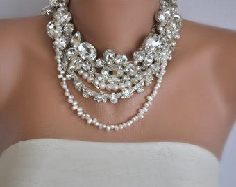 Freshwater  Pearl Necklace, Pearl and Rhinestone necklace, Wedding Necklace,bridal pearl jewelry,