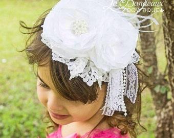 White Silk and Lace Couture Headband, Bridal Headband, Christening, Baptism Headband, Girl's Headband, Baby Headband, Photo Prop