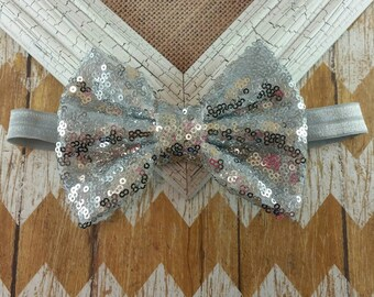 Silver sequin bow headband, silver bow headband, sequin headband, silver headband, girls headband, Large bow headband, Big bow headband,