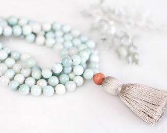 Soothe Mala- mala beads, mala necklace, tassel necklace, mala, amazonite, crystal necklace, gifts for her, gemstone necklace, meditation