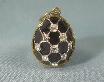 RUSSIAN LATTICE EGG Pendant Charm-Vintage Gold On Sterling Silver & Black Enamel-Clear Crystals-Collectible Jewelry-07037