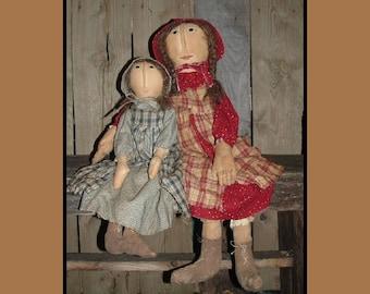 Prairie Doll Sisters Primitive Folk Art  instant dowload pattern HAFAIR HAGUILD OFG rag dolls