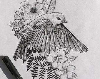 Bird drawing ink