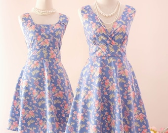 Blue bridesmaid dress Summer dress floral party dress vintage prom dress dusty blue floral bridesmaid dresses Vintage sundress spring summer