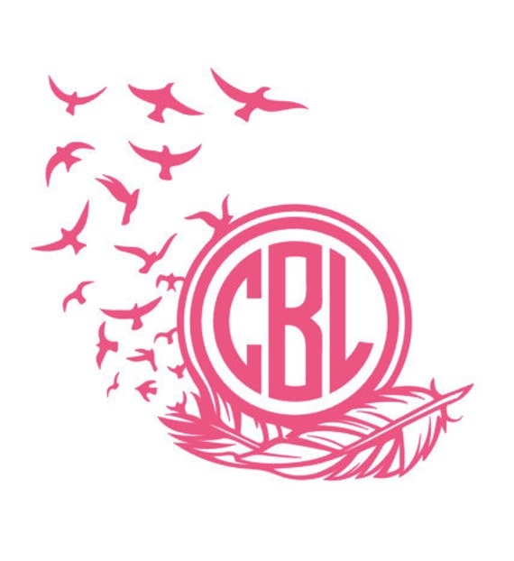 Bird feather monogram decal sticker laptop decal car decal personalize everything