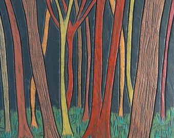 Woodland Scene on Slate 'Tree Trunks@