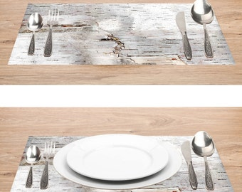 "Paper Placemats Birch Bark Photo Rustic | Printed Birch Bark Paper Placemats Book of 25 17"" x 11"" inches Tear-Off Pad/Card Stock Paper"