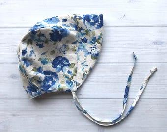 Blue Floral Linen Sun bonnet