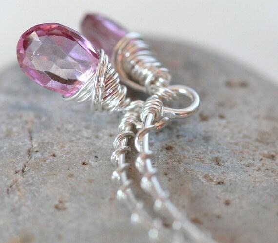 Pink Topaz Earrings - Briolette Dangle Wrapped in Sterling Silver Wire - Arc Earrings in Pink Topaz
