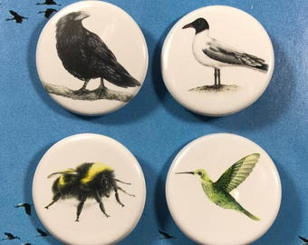 Flying friends button 4 pack