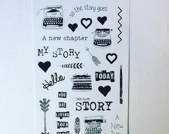 Black and white My Story sticker sheet