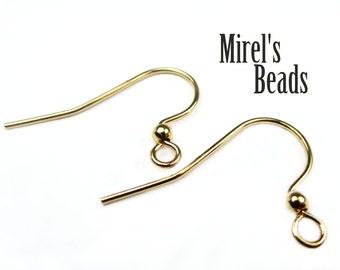 48 pcs Gold Plated Ear Wires with Ball, Fish Hook