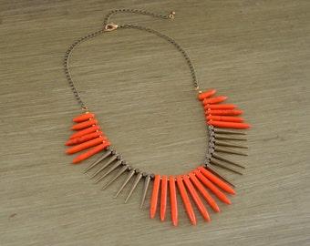 CLOSEOUT Orange Turquoise Spike Necklace - Orange Bead Statement Necklace - Orange Stone Necklace - Chunky Orange Bib Necklace
