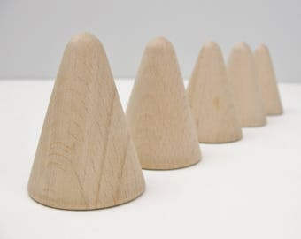 "5 Wooden cones 2"" tall, wooden contemporary Christmas tree, unfinished DIY"