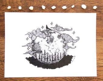 I'm a wolf • art print • illustration • A4 • Moon