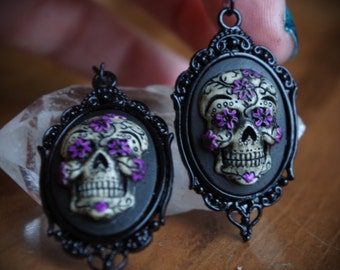 Pair Black and Purple Black Setting Sugar Skull Day of the Dead Dia De Los Muertos Hand Made Earrings