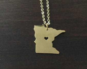 Minnesota Necklace, Minnesota, gold Minnesota necklace, Minnesota jewelry, Minnesota pendant, state necklace, necklace, gold necklace