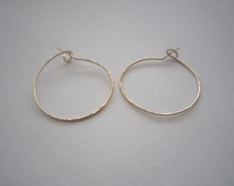 "Small Gold Hoop Earrings 1"" Thin Small Hoop Earrings Gold Filled Hoop Earrings Hammered Hoop Earrings Classic Hoops"