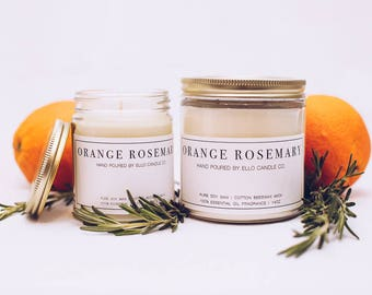 Essential Oil Soy Candle - Orange Rosemary