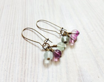 Pippa Gem Trio Cluster Earrings in Rainbow Fluorite and Brass