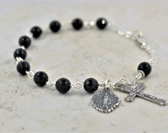 Black Onyx Rosary Bracelet with Sterling Silver
