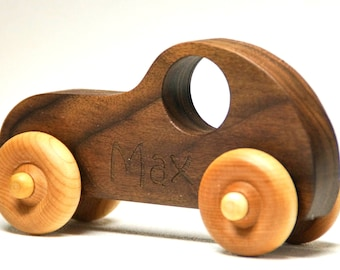 Wooden Toy Car, Handmade Personalized Toy Car, Race car push toy for kids, children, boys, and girls