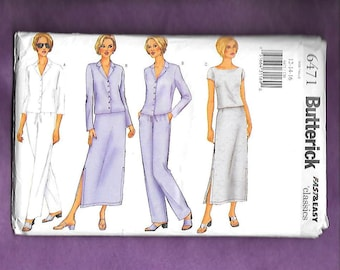 Butterick 6417 Misses' Wardrobe, With Loose Fitting Jacket, Ankle Length Skirt, Top, And Pants, Sizes 12-14-16, UNCUT